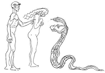 Adam, Eve and Serpent, Heinrich Kley