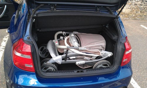 The Graco Travel System *does* fit in the boot of a BMW Seies 1 coupe, as used by streetcar